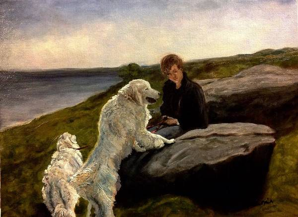 Painting - A Moment Of Repose With The Magnificent Dogs by J Reynolds Dail
