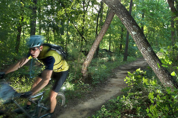 Conyers Photograph - A Mountain Biker Speeds Down A Winding by Andrew Kornylak