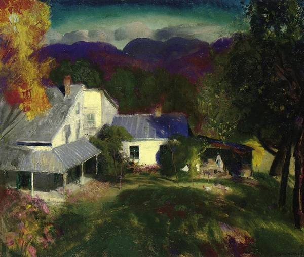 Agrarian Wall Art - Painting - A Mountain Farm by George Wesley Bellows
