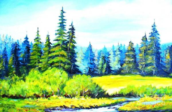 Wall Art - Painting - A Mountain Meadow by Hazel Holland