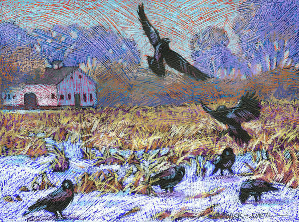 Barn Snow Painting - A Murder Of Crows by Marguerite Chadwick-Juner