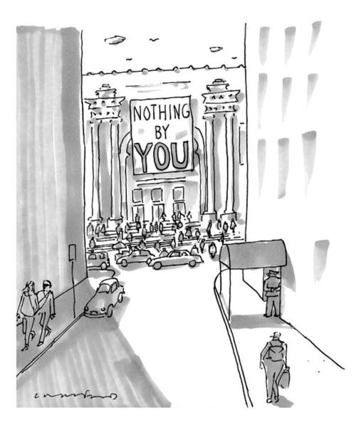 Nothing Drawing - A Museum With A Sign. Captionless by Michael Crawford