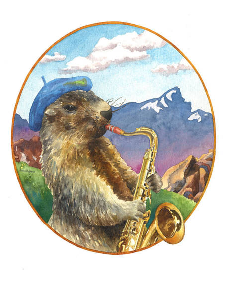 Wall Art - Painting - A Musical Marmot by Anne Gifford