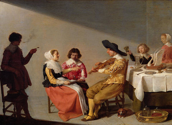 Swan Photograph - A Musical Party, 1631 Oil On Panel by Jacob van Velsen