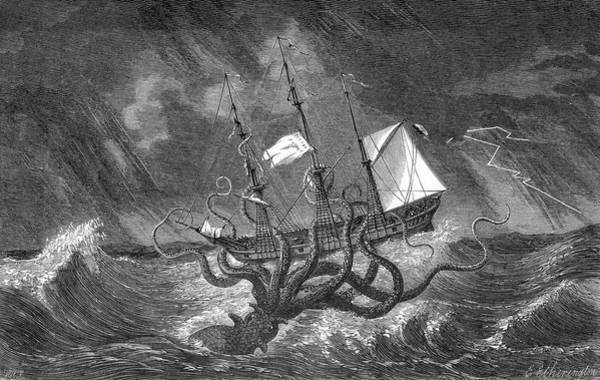Wall Art - Drawing - A Mythical Kraken Attacking A Sailing by Mary Evans Picture Library