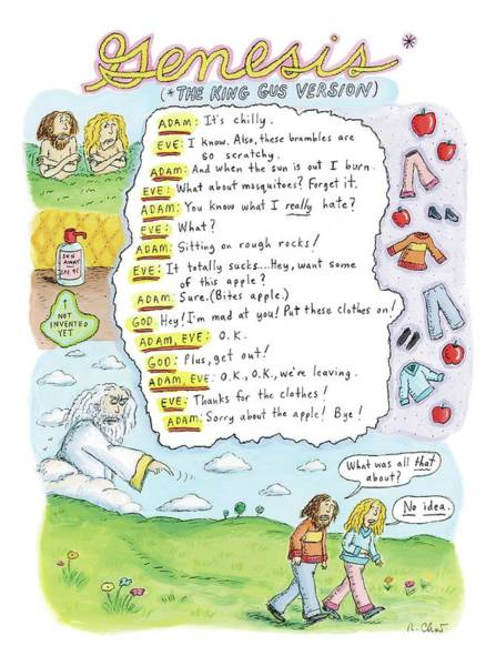 Adam Drawing - A Narrative Is Seen Detailing The Events Leading by Roz Chast