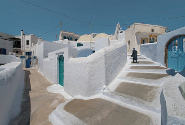 Casual Photograph - A Narrow Walk Street In Santorini by Ed Freeman