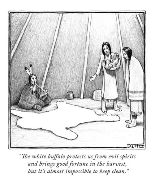 Clean Drawing - A Native American Woman Shows Her Friend A Rug by Matthew Diffee