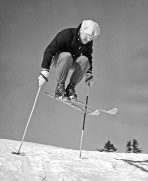 Ski Jumping Photograph - A New Hampshire Gelandesprung by Underwood Archives