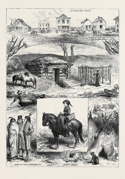 Minnesota Drawing - A New Settlement In Minnesota America 1880 by English School