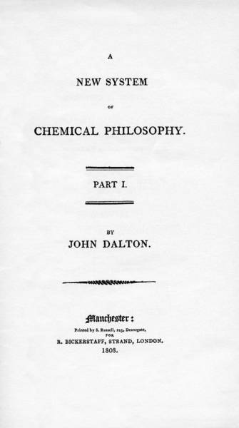 Physics Photograph - A New System Of Chemical Philosophy by Emilio Segre Visual Archives/american Institute Of Physics/science Photo Library