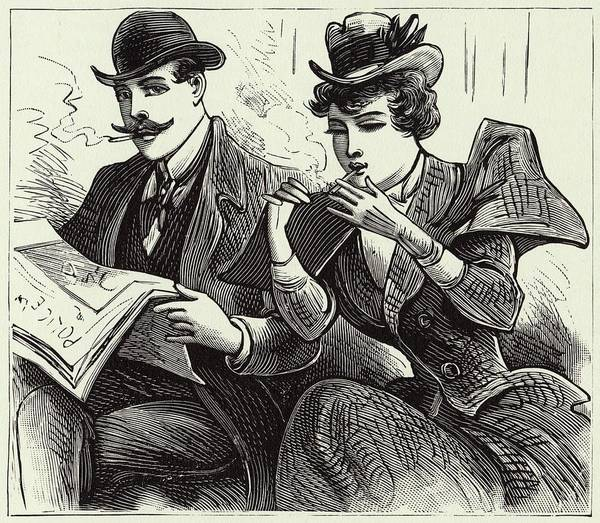 Wall Art - Drawing - A New Woman Lights Up In A  Railway by Mary Evans Picture Library
