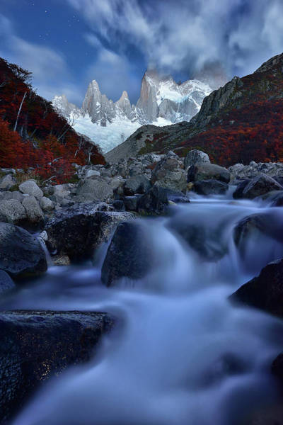 Mounted Photograph - A Night In Patagonia by Mei Xu