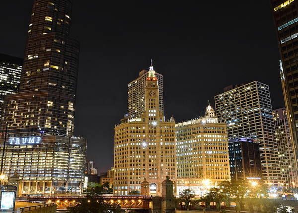 Oprah Wall Art - Photograph - A Night Over The Chicago River by Frozen in Time Fine Art Photography
