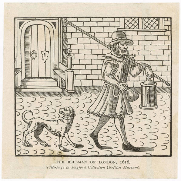 Night Time Drawing - A Night Watchman Patrols The  London by Mary Evans Picture Library