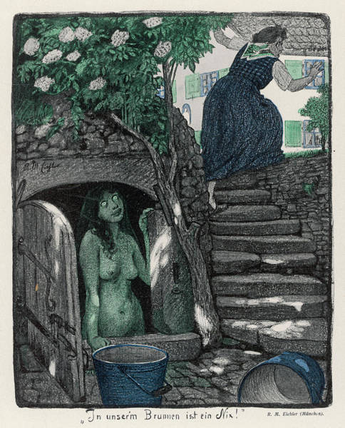 Folklore Drawing - A Nixie Or Water Spirit In A Well by Mary Evans Picture Library