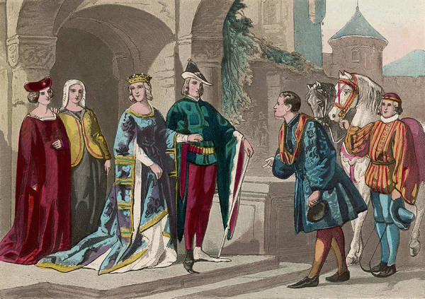 Wall Art - Drawing - A Nobleman And His Wife Leave by Mary Evans Picture Library