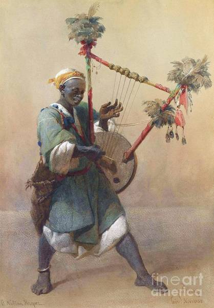 Harper Painting - A Nubian Harper by Pg Reproductions