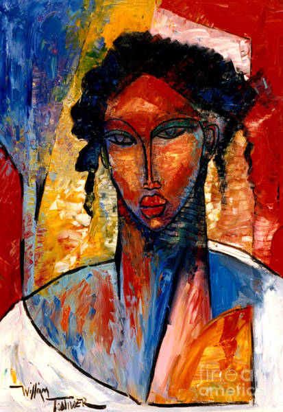 African American Woman Wall Art - Painting - A Nubian Lady by William Tolliver