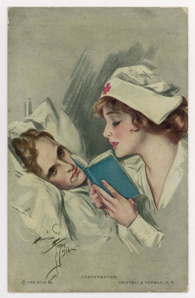 Wall Art - Drawing - A Nurse Reads A Book To Her  Patient by Mary Evans Picture Library