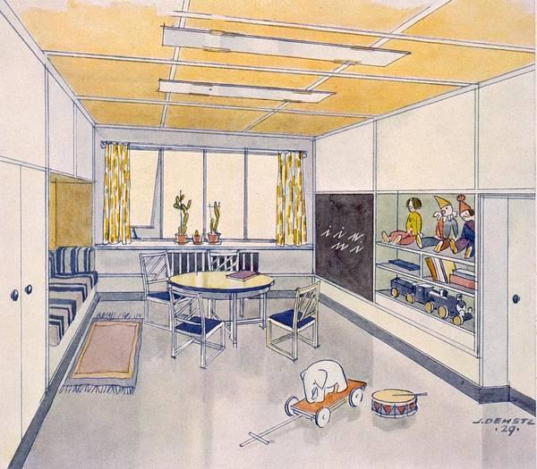 Nursery Drawing - A Nursery, 1929 by J. Demetz