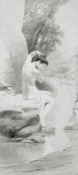 Sensual Drawing - A Nymph by Charles Prosper Sainton