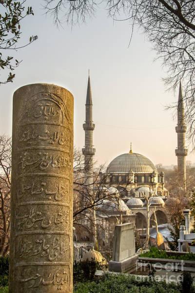 Turkiye Wall Art - Photograph - A Ottoman Gravestone And Eyup Sultan Mosque At Eyup Istanbul by Leyla Ismet