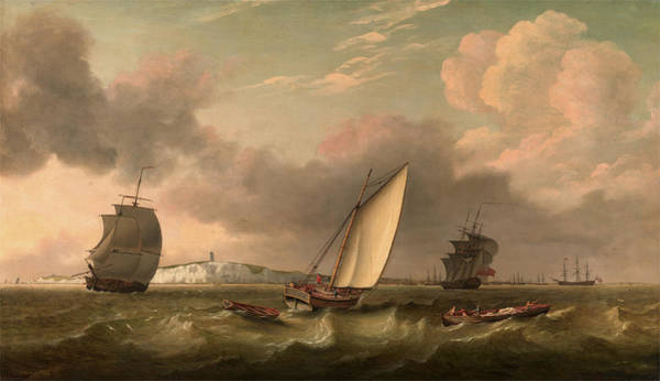 Wall Art - Painting - A Packet Boat Under Sail In A Breeze Off The South Foreland by Litz Collection