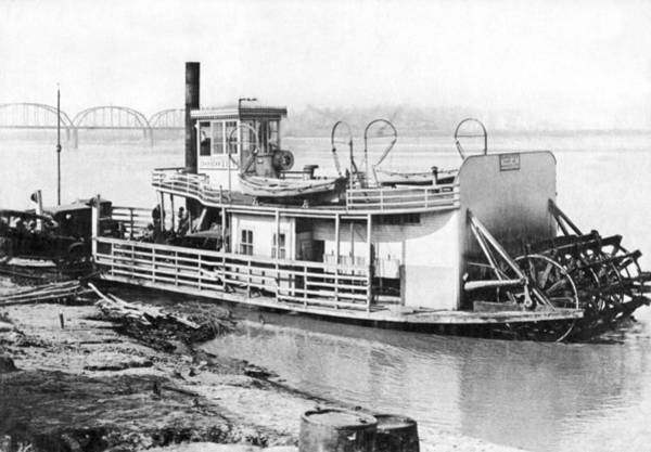 Steam Boat Photograph - A Paddlewheel Ferry Boat by Underwood Archives