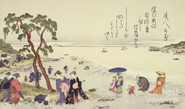 Woodcut Wall Art - Painting - A Page From The Gifts Of The Ebb Tide by Kitagawa Utamaro