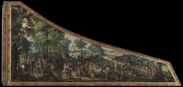 Lid Painting - A Painting On A Harpsichord Lid With A Party By A River by Litz Collection