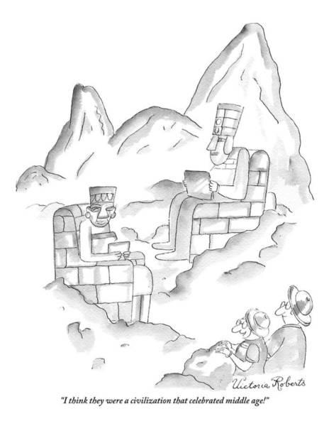 Ancient Drawing - A Pair Of Sightseers Admire Ancient Statues That by Victoria Roberts