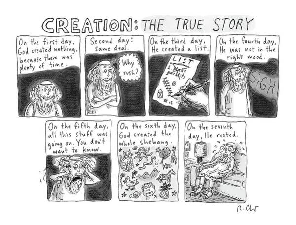 Bible Drawing - A Panel Called Creation: The True Story Which by Roz Chast