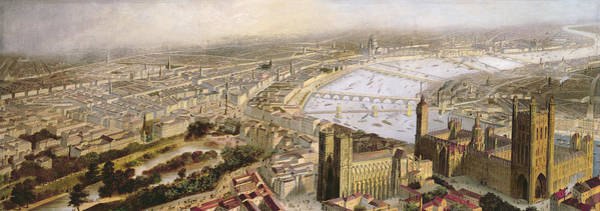 Houses Of Parliament Wall Art - Painting - A Panoramic View Of London by English School