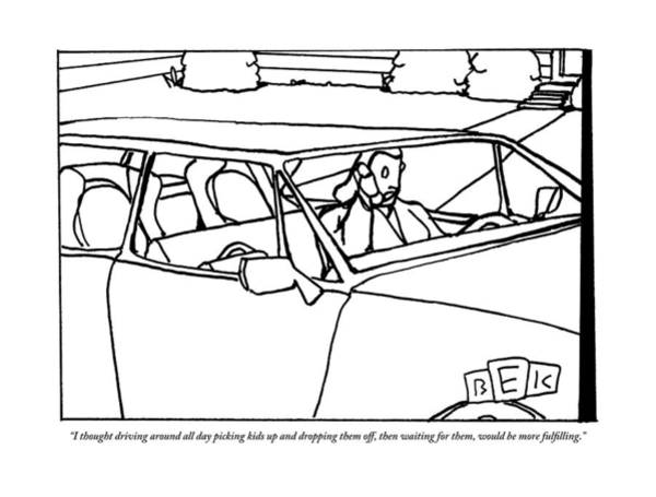 Middle Drawing - A Parent Driving A Car by Bruce Eric Kaplan