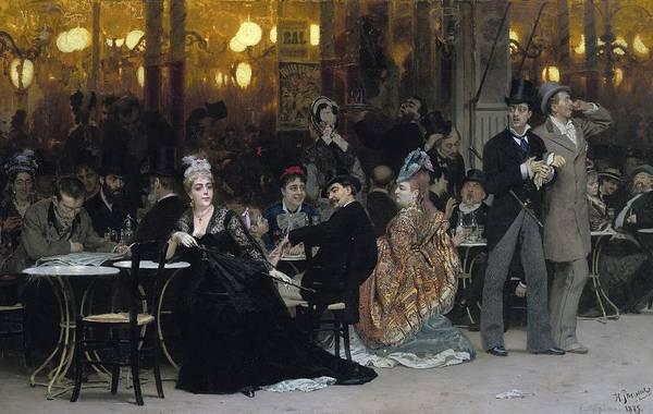 Parisian Cafe Painting - A Parisian Cafe by Ilya Efimovich Repin