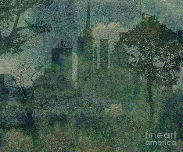 Dark Olive Green Wall Art - Digital Art - A Park In The City by Peter Awax