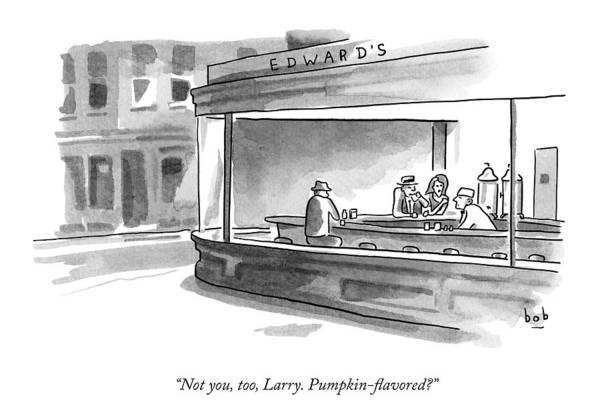 Parody Drawing - A Parody Of Edward Hopper's Painting Nighthawks by Bob Eckstein