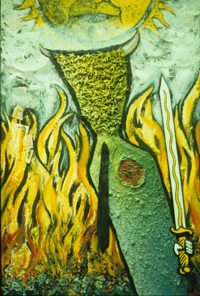 Flaming Sword Painting - A Passion For Sacrifice by Dan Ault