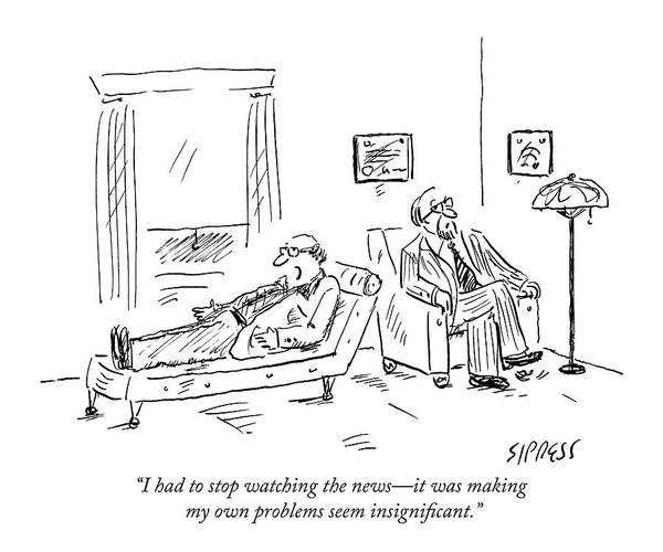 Therapist Drawing - A Patient Talks To His Therapist by David Sipress