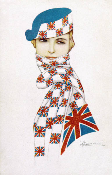 Wall Art - Drawing - A Patriotic English Woman Wearing by Mary Evans Picture Library