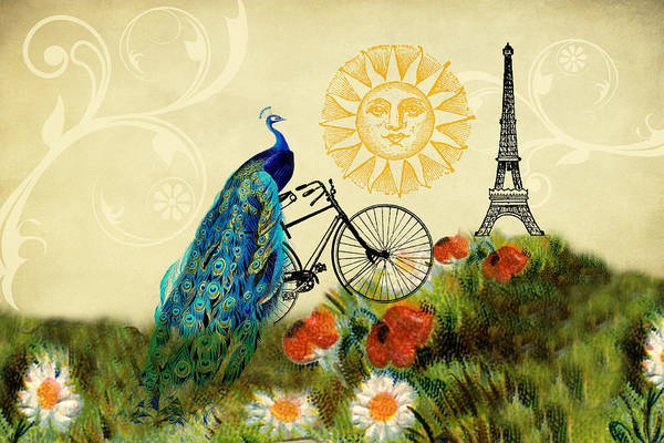 Digital Art - A Peacock In Paris by Peggy Collins