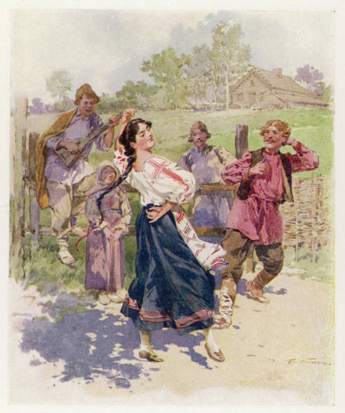 Ukraine Drawing - A Peasant Dance In Little  Russia by Mary Evans Picture Library