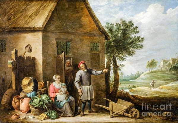 Wall Art - Painting - A Peasant With A Family Near His House by Viktor Birkus
