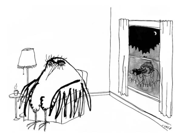 Wall Art - Drawing - A Peeping Tom With Binoculars Looks Into A Big by Edward Steed