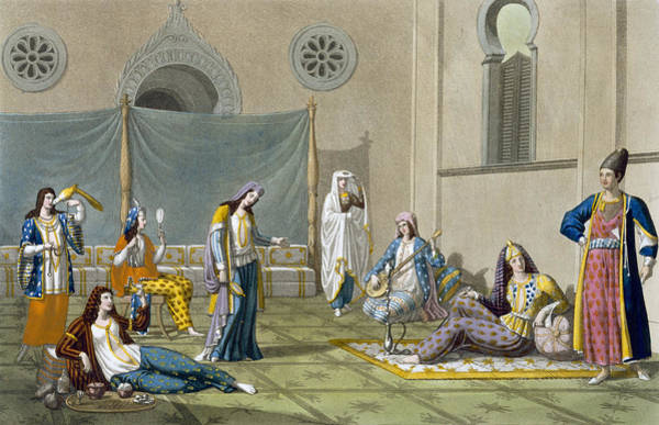 Middle Drawing - A Persian Harem, From Le Costume Ancien by G. Bramati