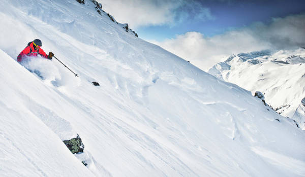 Silverton Photograph - A Person Skiing Down A Steep Mountain by Rob Hammer
