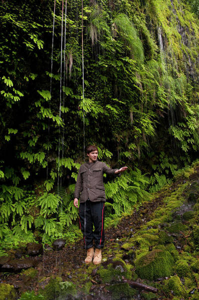 Gully Photograph - A Person Standing On A Trail by Christian Heeb
