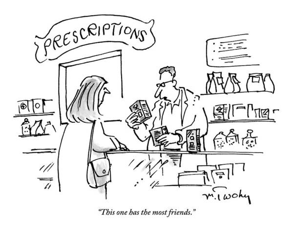 Drug Drawing - A Pharmacist Hands A Drug To A Woman by Mike Twohy