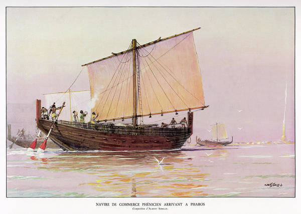 Wall Art - Drawing - A Phoenician Trading Vessel  Arrives by Mary Evans Picture Library